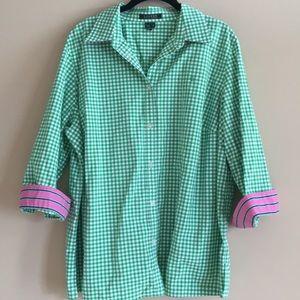 Ralph Lauren Plus Size 2X Green Gingham Shirt